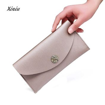 Lady Women Thin Purse Long Clutch Wallet Solid Color Handbag Card Holder Female Multifunction Handbag Soft Purse Coin Bag
