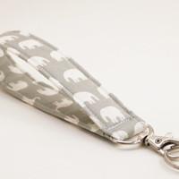 Key Fob, Wristlet Snap Keychain, White Elephants on Grey Fabric