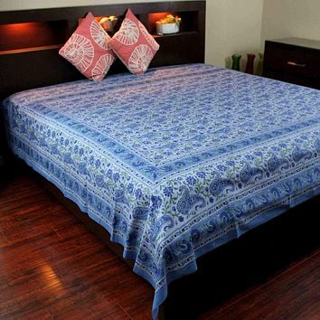 Cotton Rajasthan Paisley Floral Tapestry Block Print Tablecloth Spread Twin Full