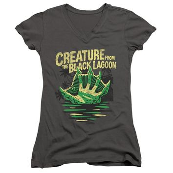 Creature from the Black Lagoon Juniors V-Neck Hand Charcoal