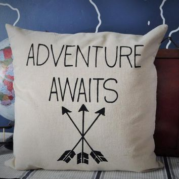 Adventure awaits pillow cover