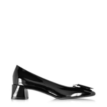 Fratelli Rossetti Designer Shoes Black Patent Leather Mid Heel Pump