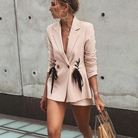 Double breasted lace up pocket blazer