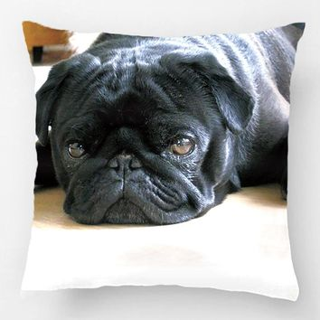 Personalized Pug Pillow Black Pug Puppy Wedding Decorative Cushion Cover Pillow Case Customize Gift For Sofa Seat Pillowcase