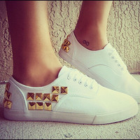 STUDDED white OR black Canvas Shoes