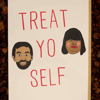 Parks and Recreation Treat Yo Self Funny Birthday Card Girlfriend Boyfriend Wife Husband Pop Culture Tv Show