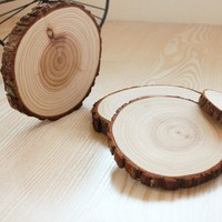 Set of 6 Natural Wood Big Coasters DIY Toys For Kids Slices Pine Wood Coasters Slices Rustic Tree Branch Slices Arts And Crafts