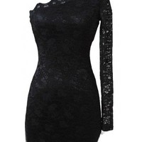 One Shoulder Lace Dress - Kely Clothing