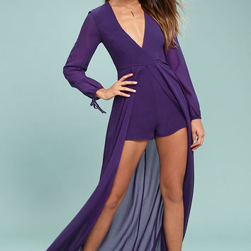 Gone With the Whirlwind Purple Romper