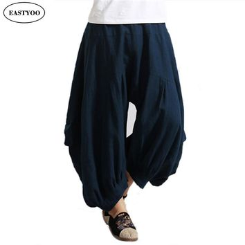 Harem Pants Men Summer 2016 Black Linen Pants Loose Wide Pants Elastic Waist Bloomers Long Trousers Casual Wide Pants