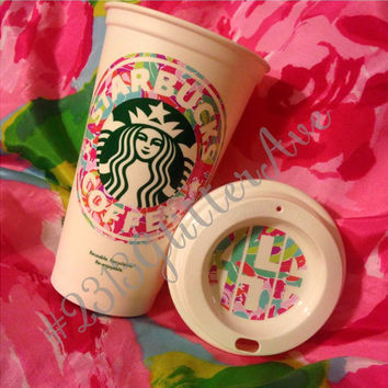 Lilly Pulitzer Inspired Coffee Cup