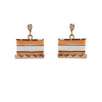 N2 by Les Néréides GOURMET COFFEE NAPOLEON CAKE EARRINGS