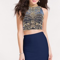 Alyce 4481 Two Piece Dress with a High Neckline and Beaded Bodice