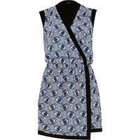 River Island Womens Blue geometric print wrap front dress