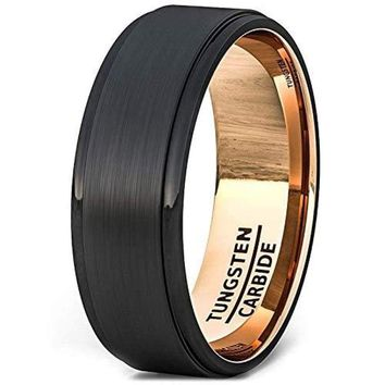 Black Tungsten Wedding Band Brushed Center Step Edge With Rose Gold Comfort Fit - 8mm