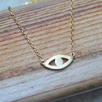 Dainty Evil Eye Gold Pendant Chain Necklace.  Simple Minimalist, Everyday, Birthday Gift, Bridesmaid Gift
