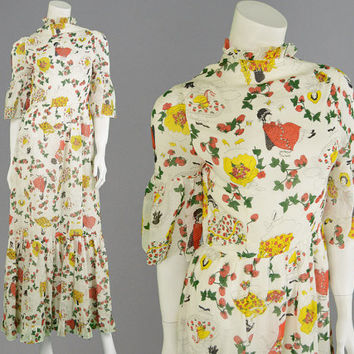 Vintage 70s Novelty Print White Maxi Dress Art Deco Prairie Dress Fruit Print Boho Dress Hippy Dress Biba Style Kawaii Dress Bell Sleeves
