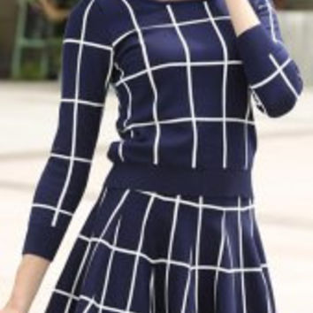 Chic Color Block Long Sleeve Plaid Top + High Waist Skirt Suit For Women
