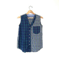 Vintage tank top. Button up plaid tank top. Sleeveless 90s shirt. Patchwork cotton preppy shirt. Tomboy tank.
