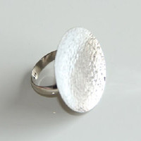 Womens Sterling Silver Adjustable Minimalist Circle Ring
