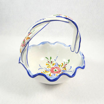 Portugal Hand Painted Pottery Floral Basket by Reel