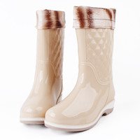 High Rain Boots  Autumn And Winter Boots women Korean Fashion Boots Flat With Adult Waterproof Tube Anti-skid Water Shoes