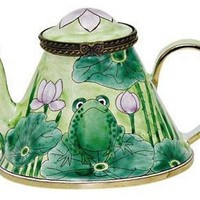 Frog on A Lily Pad Miniature Teapot by Kelvin Chen