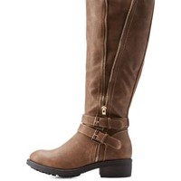 Light Taupe Riding Boots with Buckles and Zipper by Charlotte Russe