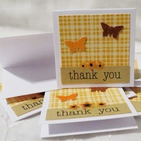 Handmade Mini Thank You Cards Orange Plaid with Flowers and Butterflie
