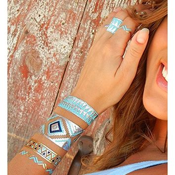 Temporary Metallic Shimmer Boho Multi Color Body Tattoos