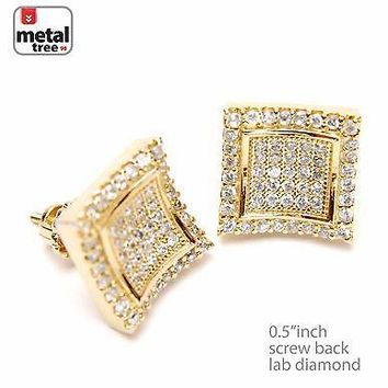 Jewelry Kay style Men's Hip Hop 14k Gold Plated Double Caved Square Screw Back Earrings 931 G