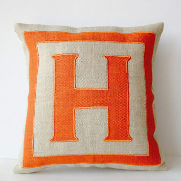 Personalized Monogram throw pillow- Burlap pillows- Orange Burlap monogram cushion -Burlap applique -Decorative throw pillows- 18x18