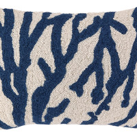 Sea Reef 14x20 Wool Pillow, Navy, Decorative Pillows