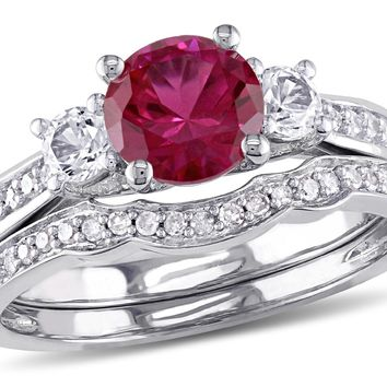 Created Ruby and White Sapphire 1 1/3 Carat (ctw) with Diamond Bridal Wedding Set Engagement Ring 10K White Gold