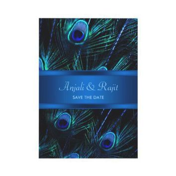 Royal Blue Purple Peacock Feathers Wedding Custom Invite from Zazzle.com