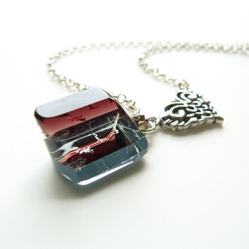 Prism Necklace - Layered Glass Pendant - Burning Heart