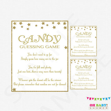 Gold Baby Shower Games, Twinkle Twinkle Little Star Baby Shower Gender Neutral Guessing Game Gold Stars Guess how many candies Download STGG