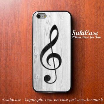 WOOD IPHONE 5S CASE Wooden G Clef on White Slat iPhone 4 Case iPhone 5 Case iPhone Case Samsung Galaxy S4 S3 Cover iPhone 5c iPhone 4s cases