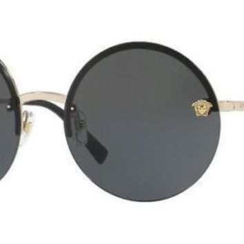 New VERSACE Sunglasses VE2176 1252 87 Gold/Solid Gray For Women's