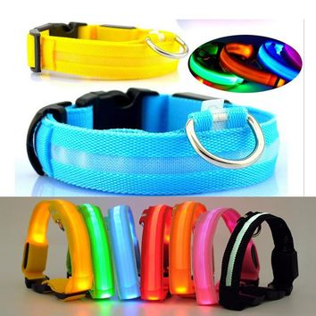 Nylon Pet Dog Collar LED Light Night Safety Flashing Glow In The Dark Dog Leash Cat Luminous Fluorescent Collars With Battery