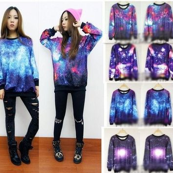 Chic Women's Galaxy Space Starry Print Long Sleeve Top Round T Shirt Jumper Top = 1920338500
