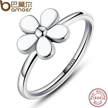 Flower 925 Sterling Silver Darling DAISY Stackable RING White Enamel WITH WHITE ENAMEL Authentic Jewelry PA7115