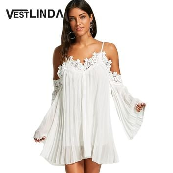 Womens White Dress Lace Flare Long Sleeve Spaghetti Strap Cold Shoulder Mini Chiffon Cami Dress Loose Swing Dress