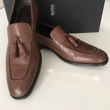NIB $475 Boss Hugo Boss Scultos Mens Leather Penny Loafer Shoes Brown 10.5 US IT