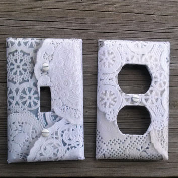Lace Light Switch, Choose Size, Lace Wall Plate, Lace Decor, Vintage Nursery, Lace Room Decor, shabby chic decor, Lace Theme, Doilies
