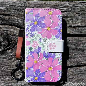 MADE IN JAPAN Wallet Case - Cosmos Purple Flowers for iPhone SE / 5 / 5s