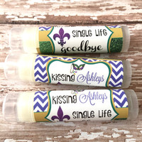 New Orleans Bachelorette Party Favors - Mardi Gras Chapstick - Wedding Party Favors - Bridal Party Favor - Custom Lip Balm - Hangover Kit
