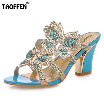 Thick Heel  Rhinestone Sandals