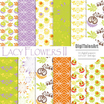 "Floral digital paper ""Lacy Flowers II"" flower digital clip art papers in purle, orange, green, patterns, download, floral background"