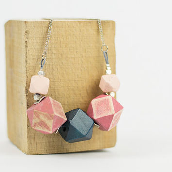 VALENTINES SALE Pink and blue chunky necklace Geometric necklace Big bold wood jewelry Eco friendly handpainted jewelry